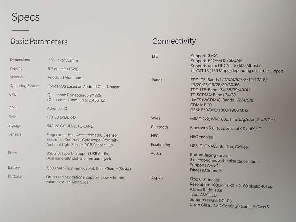 OnePlus 5T Specifications