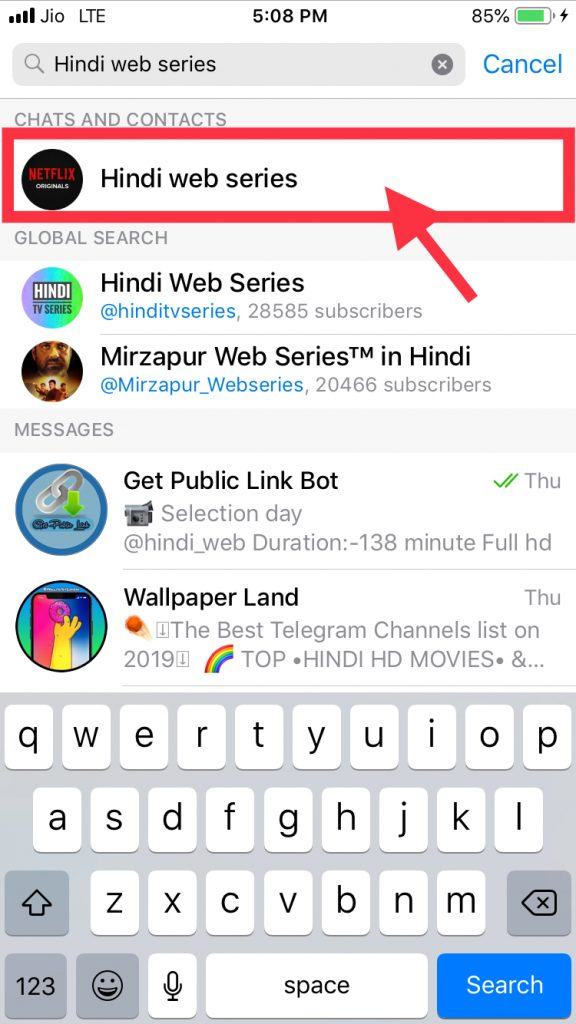Telegram Hindi Web Series Search