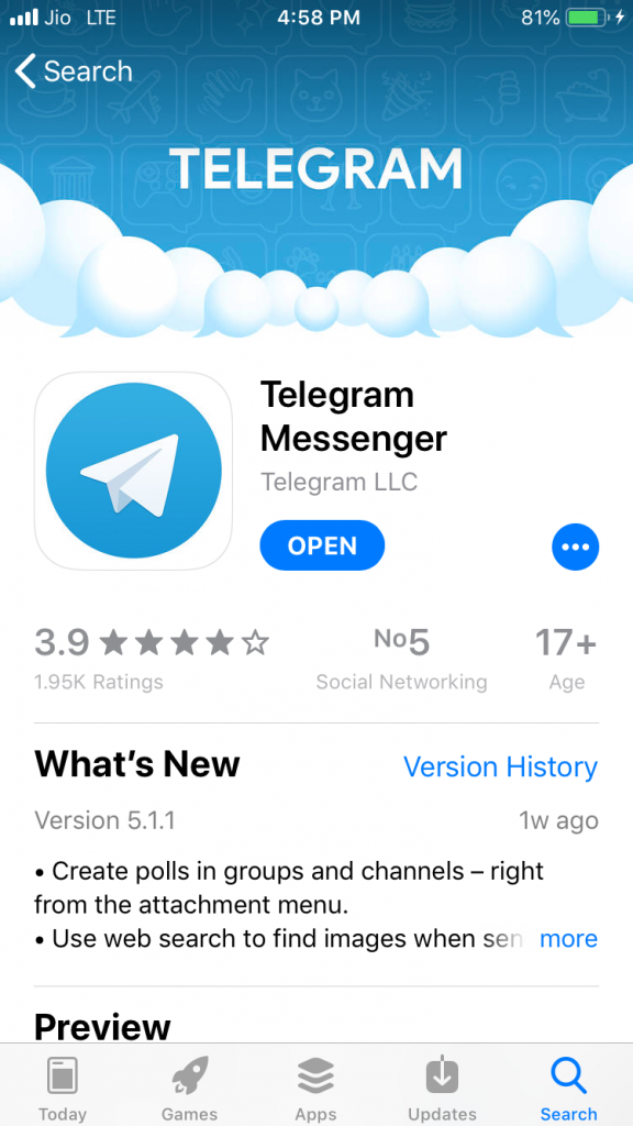 Telegram Official app -Droidtechie